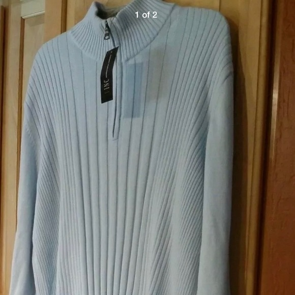 INC International Concepts Sweaters - INC Powder Blue/Gray 3/4 Zip Sweater Size XL 1X